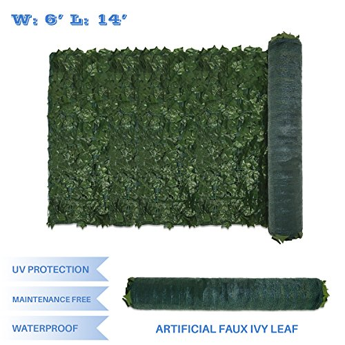(E&K Sunrise 6' x 14' Faux Ivy Privacy Fence Screen with Mesh Back-Artificial Leaf Vine Hedge Outdoor Decor-Garden Backyard Decoration Panels Fence Cover - Set of 1)