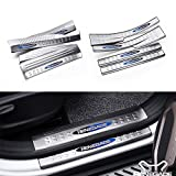 8 Pcs Fit for Jeep Renegade 2015-2017 Stainless Steel Innner External Door Sill Scuff Plate Guard Sills Protector Trim - Blue