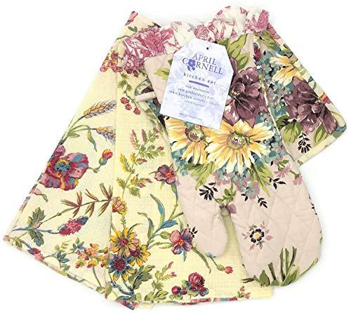 April Cornell Plum Floral Oven Mitt, Potholder, Two Towels Kitchen Set