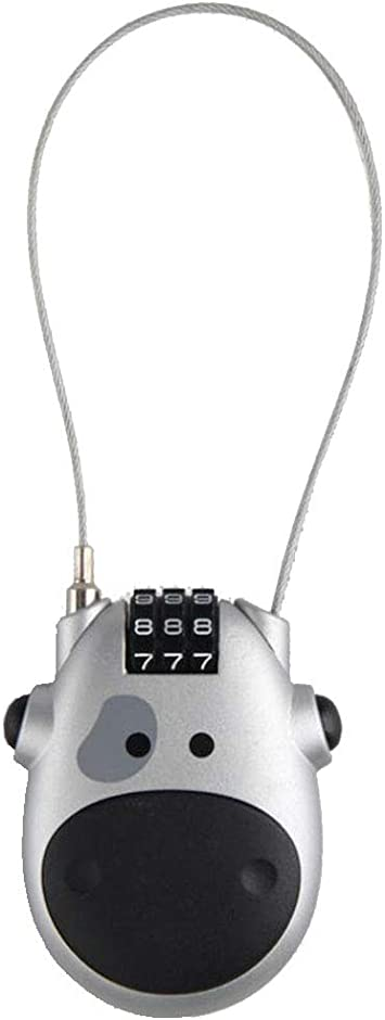 Travel Luggage Padlock Cow Retractable 3-Digit Combination Cable Code Lock Bike