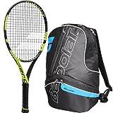Babolat Pure Aero 26 Inch Junior Tennis Racquet (Black/Yellow) bundled with a Blue/Black Team Tennis Backpack