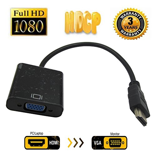HDMI to VGA with Audio Adapter, JBingGG Gold-Plated 1080P Active HDMI to VGA Adapter Video Converter Male to Female with Micro USB and 3.5mm Audio Port Cable for PC/Laptop/DVD ()