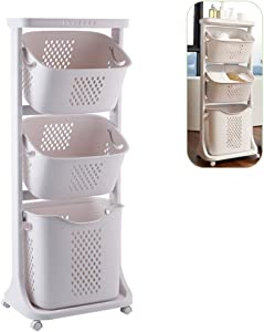 bretoes Laundry Basket Bathroom Multi-Layer Clothes Storage Basket Household Bathroom Simple Storage Shelf Kitchen Shelf Fruit Stand