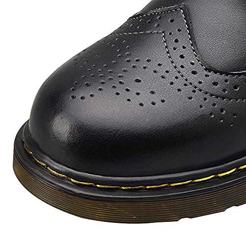 Hommes Bottes Noir Durable Lacets Motard Brogues Rismart Militaire Cheville Rqw1d17