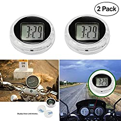Universal Mini Motorcycle Clock Watch Waterproof Stick-On Motorbike Digital Clock Dia. 1.1- 2 Pack