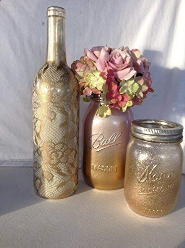 Amazon Com Rustic Blush Pink And Gold Mason Jar Vases For Wedding