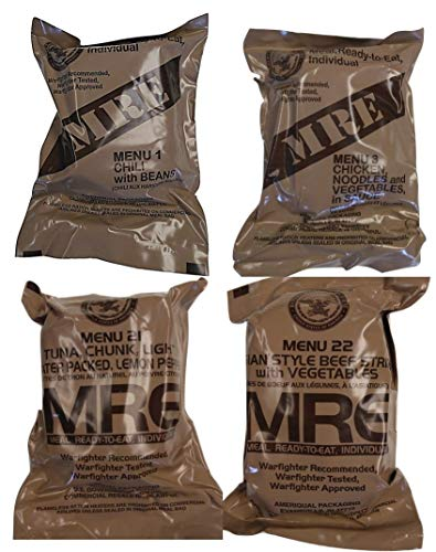 ULTIMATE MRE, Pack Date Printed on Every Meal - Meal-Ready-To-Eat. Inspected Certified by Western Frontier. Genuine Mil Surplus. (4-Pack) ()