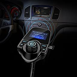 Nulaxy Wireless In-Car Bluetooth FM Transmitter Radio Adapter Car Kit with 1.44 Inch Display and USB Car Charger