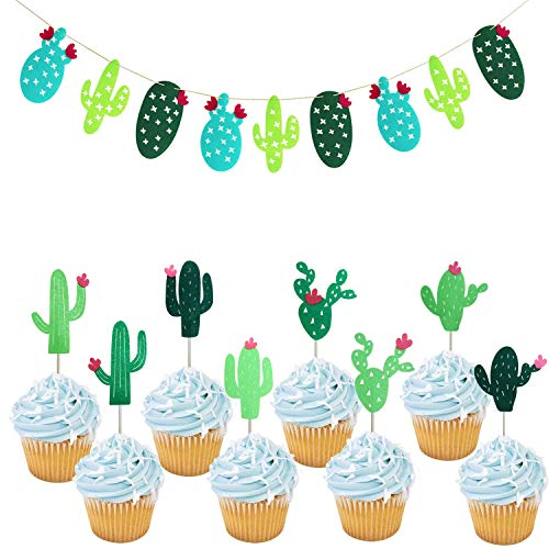 Cactus Cupcake Toppers | Cactus Banner Garland | Cactus Party Decorations | Cactus Theme Party Supplies | Fiesta West Cacti Theme Birthday Party Supplies