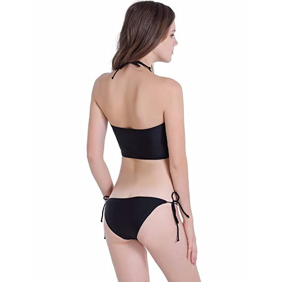 ec273e5169 Amazon.com  ZS58 Women Girls Bikini Set Two Piece Swimsuit Black Cat Print Bathing  Suits Halter Padded Bra Tied Bottom  Clothing