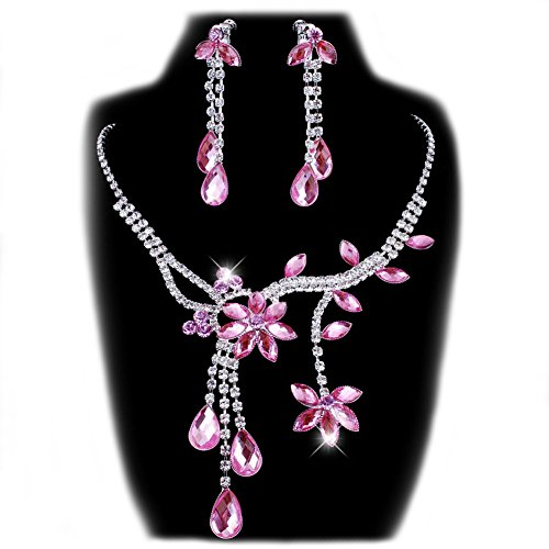 Flower Rhinestone Crystal Necklace Wedding - Chunlin Wedding Bridal Flower Leaf Rhinestone Crystal Necklace Drop Earrings Jewelry Set (Pink)