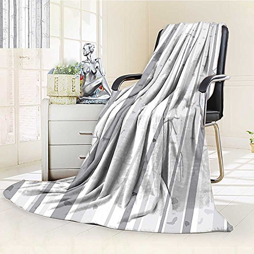 Cozy Throw Duplex Printed Blanket in Autumn Fall Branches Forest with Soft Light Colors Modern Graphic Print Ash Gray Anti-Static,2 Ply Thick,Hypoallergenic/W47 x H69 ()