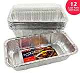 Pactogo Loaf Pans - Disposable Aluminum Foil 1 1/2 lb. Bread Tins 8.5'' X 4.5'' X 2.3'' with Clear Plastic Dome Lids (Pack of 12 Sets)