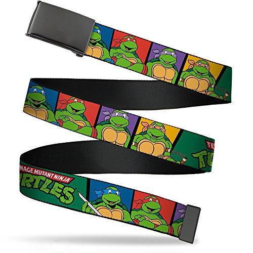 Buckle-Down Big Web Belt Ninja Turtles, Classic Tmnt Group Pose3/Tmnt Logo Green/Multi Color, 1.0