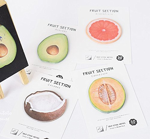 Cute Fruit Section Self-Stick Notes Sticky Notes Memo Pad 4 Pads/Pack (4 fruits) 30 sheet/Pad Easy Post , Gift for Students Children