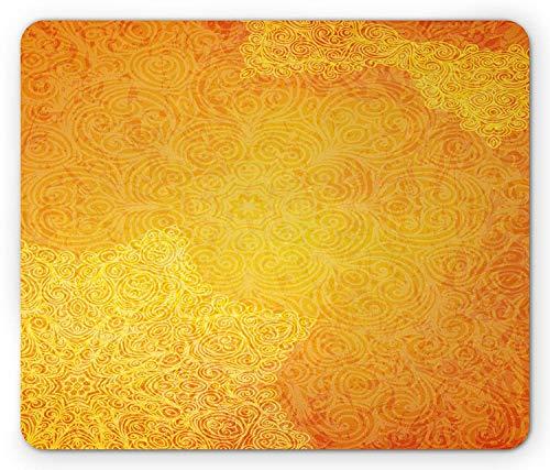 Yellow Mandala Mouse Pad, Ethnic Tribal Orange Pattern Vintage Grunge Curly Ornate Blooms Waves, Standard Size Rectangle Non-Slip Rubber Mousepad, Orange Yellow,9.8 x 11.8 x 0.118 Inches