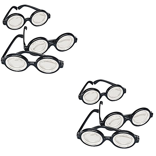 Weird Costume Party Themes (Plastic Funny Nerd Glasses, Black Frame (2-Pack of 12))