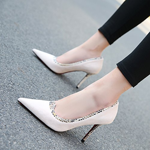 Elegant Women'S Naked Spring Single Shoes Leisure MDRW 9 Fine Head High Heel 39 Shallow 5Cm Color Heels Work Sharp Personality Lady Shoes 5gwq0XxC