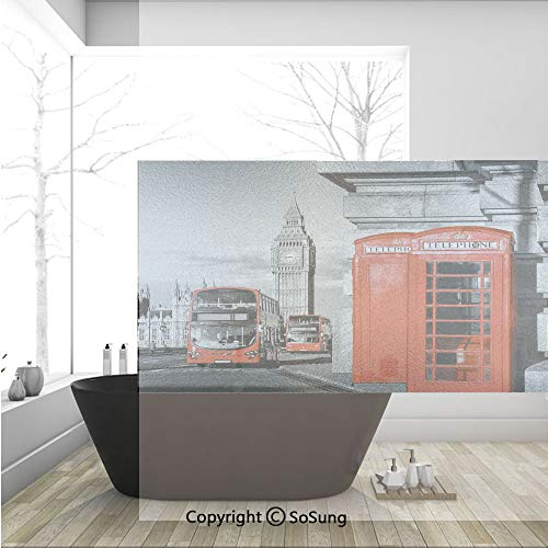 3D Decorative Privacy Window Films,London Telephone Booth in the Street Traditional Local Cultural Icon England UK Retro,No-Glue Self Static Cling Glass film for Home Bedroom Bathroom Kitchen Office 3