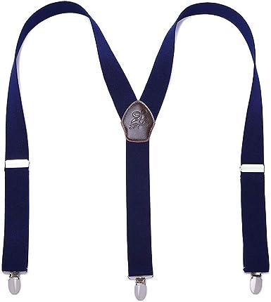 Panegy - Tirantes Para Hombre Elástico Y-Forma Adjustable con 3 Clips Fuerte Para Traje Pantalones Hombre Tirantes de Color Sólido Estilo Retro Elegante - Azul: Amazon.es: Ropa y accesorios