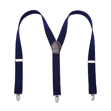 Panegy - Tirantes Para Hombre Elástico Y-Forma Adjustable con 3 Clips Fuerte Para Traje Pantalones Hombre Tirantes de Color Sólido Estilo Retro ...