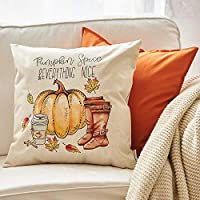 "Meekio Set of 4 Decorative Throw Pillow Covers 18"" x 18"" Farmhouse Linen Pillow Covers Housewarming Gifts"