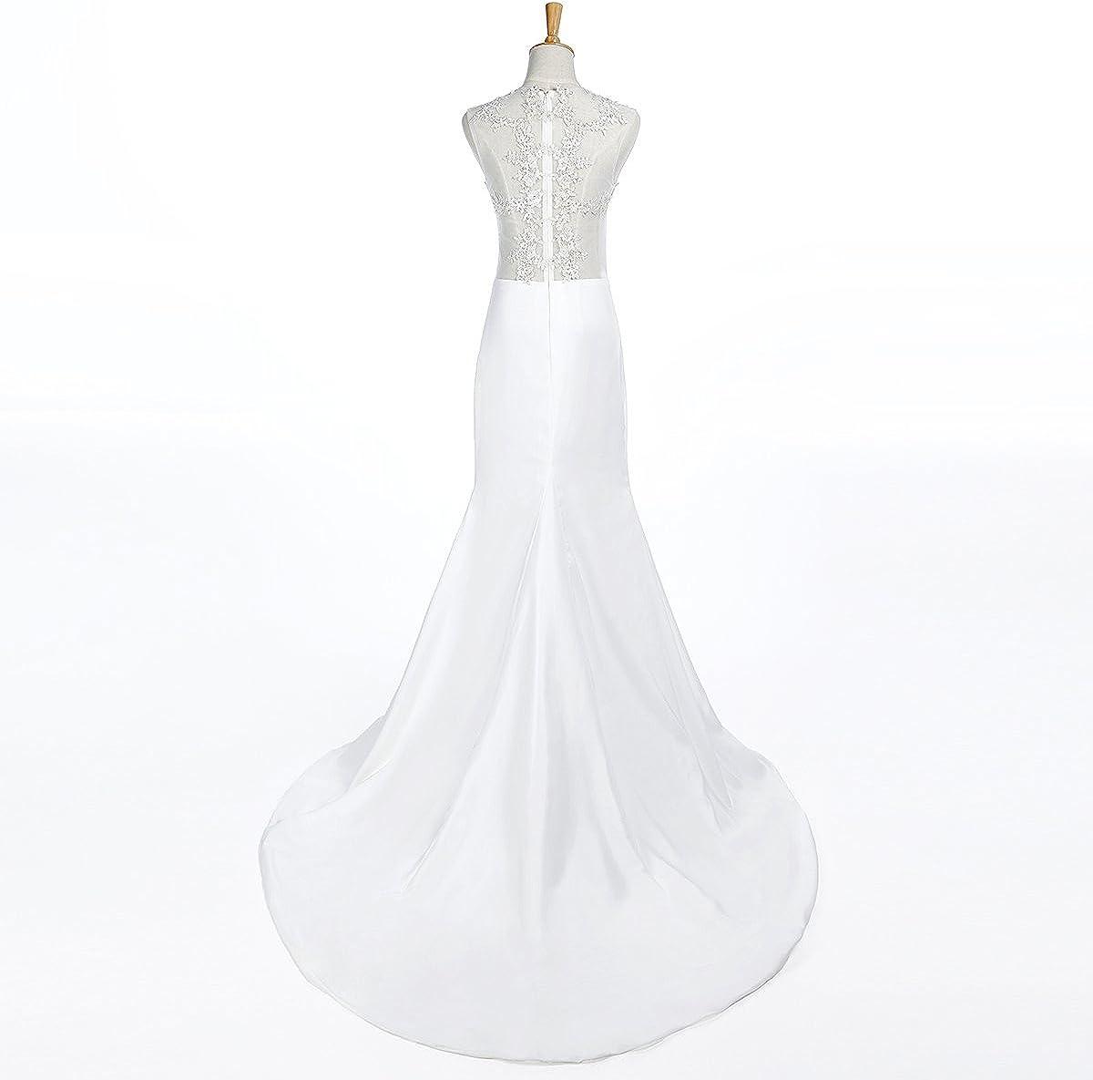 Ruiyuhong Womens Mermaid Lace Long Evening Gown Beach Wedding Dress DS38