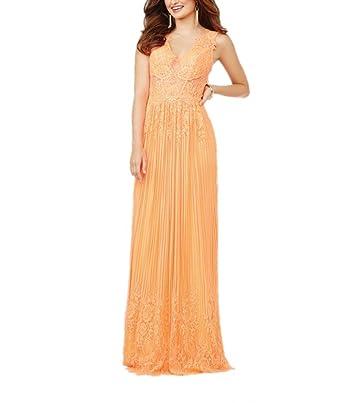 Royaldress Herrlich Orange Chiffon Spitze Abendkleider Damen Promkleider  Abschlussballkleider Lang A-linie Rock -32