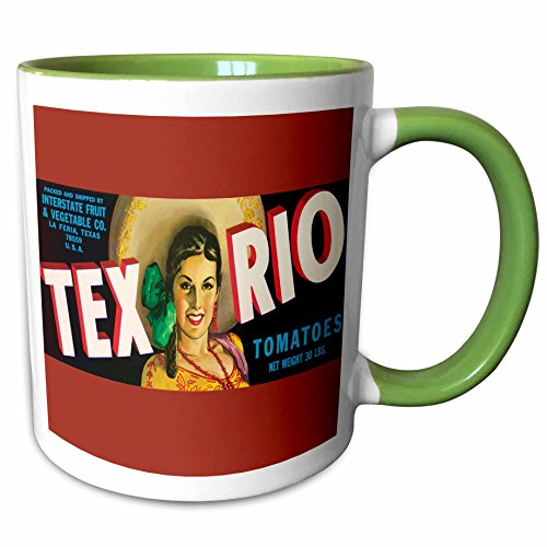 (3dRose BLN Vintage Label and Advertising Art - Tex Rio Tomatoes La Feria Texas with Pretty Girl in Colorful Outfit - 15oz Two-Tone Green Mug (mug_171117_12))