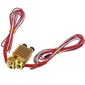 Doble cabeza extrusora E3D V6 Hot End extrusor con cable ...