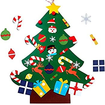 wesjoy felt christmas tree diy christmas tree with 31 pcs detachable ornaments wall decor with hanging rope for toddlers kids xmas gifts home door