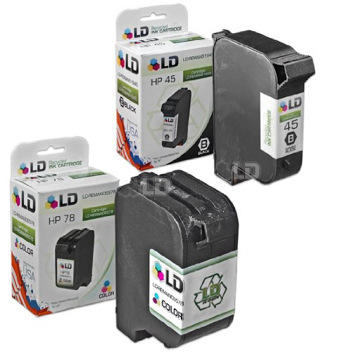 LD Remanufactured Ink Cartridge Replacements for HP 45 & HP 78 (1 Black, 1 Color, 2-Pack) ()