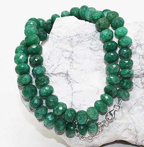 Green Beryl Faceted Rondelle Beads Necklace Green Beryl Beads Necklace Wholesale Price /9-10mm Beads, Ready to wear by Gemswholesale