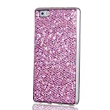 KSHOP Case for Samsung Galaxy S4 Mini Soft Silicone TPU Purple Glossy Glitter Bling Shining Luxury Protective Case Cover with Eletroplating Frame Cell Phone Back Bumper Shell