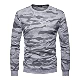 Alimao 2018 New Clearance Sale Blouse for Men Autum Winter Camouflage O-Neck Solid T-Shirt Full Sleeve Top