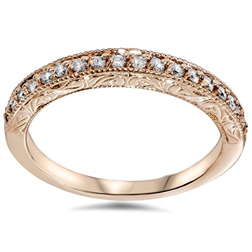 (1/2ct Vintage Diamond Rose Gold Wedding Ring 14K - Size 6)