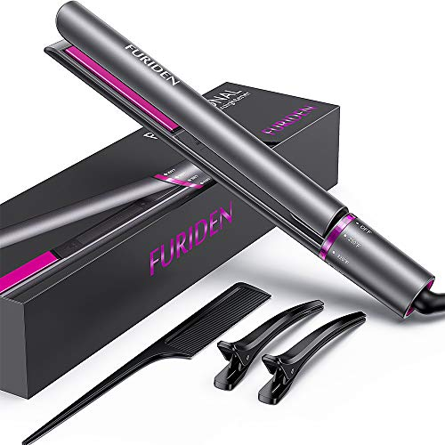 FURIDEN Hair Straightener Flat Iron, 2 in 1 Straightener and Curling Iron Ceramic, Travel Flat Iron for Hair Dual Voltage, Hair Iron Straightener and Curler. (Grey) (Best Curling Tongs For Long Thick Hair Uk)