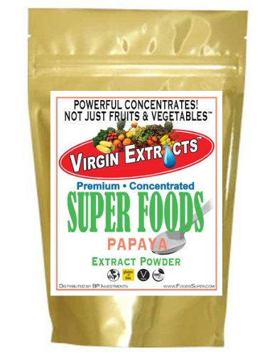 Virgin Extracts (TM) Pure Premium Raw Freeze Dried Organic Papaya Powder Extract Concentrate (4 X Stronger) 8oz Pouch Papaya Powder Papaya Enzyme Powder Superfood