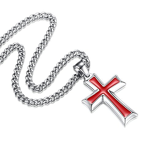 Reve Stainless Steel Red & Silver Cross Pendant Necklace for Men Women, 24