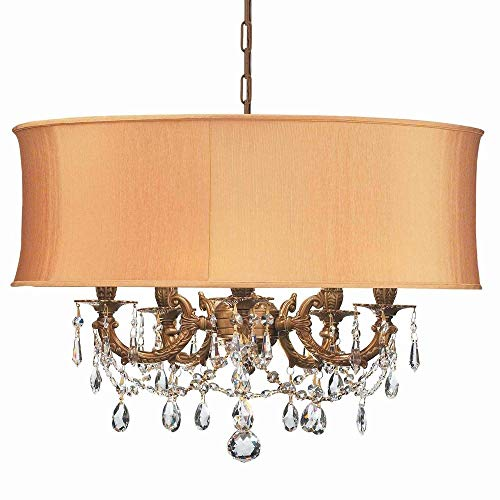 Cls Traditional Crystal Chandelier - Crystorama 5535-AG-SHG-CLS Crystal Accents Five Light Mini Chandeliers from Gramercy collection in Brassfinish,