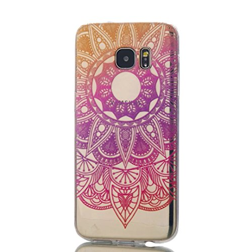 Samsung Galaxy S7 Edge Case, KSHOP Premium Accessory Ultra Thin Transparent Clear Soft Gel TPU Silicone Case Cover Bumper Shellfor Samsung Galaxy S7 Edge-Purple Sunflower