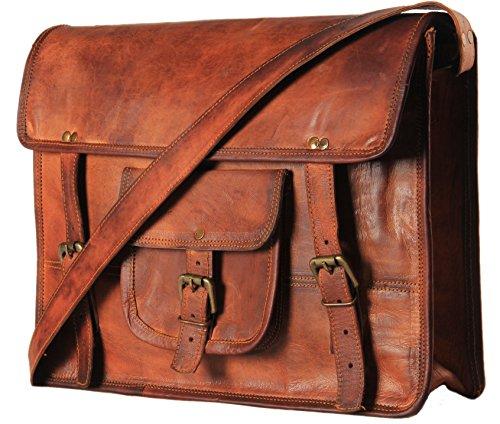 handmadecart Messenger de piel bolsas para hombres y mujeres bolso de hombro portátil