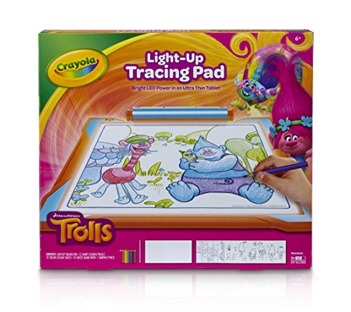 Large Product Image of Crayola; Trolls Light-up Tracing Pad; Art Tool; Bright LEDs; Easy Tracing with 1 Pencil, 12 Colored Pencils, 10 Blank Sheets, 10 Tracing Sheets