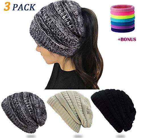RiLEKA Ponytail Beanie (3 Pack) Warm Knit Hats with Great Stretch   Messy Bun Beanie for Women & Girls Black/Beige / 3-Tone Gray + Free Hair Ties