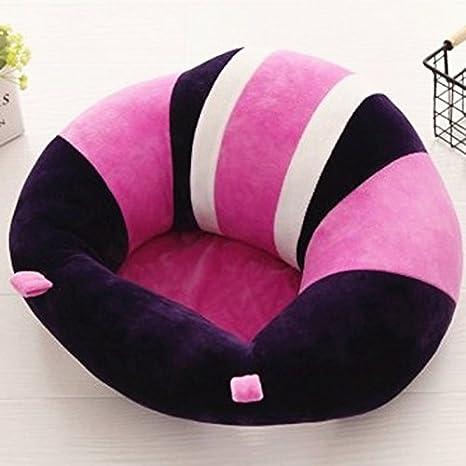 Colorido lindo asiento de apoyo para bebé, asiento para aprender a sentarse, cojín suave para silla, sofá, almohada de felpa, juguetes morado