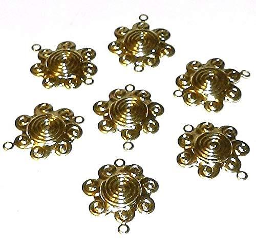 Gold Sun Flower Swirl Link 17mm Brass Component 10pc #ID-631 ()