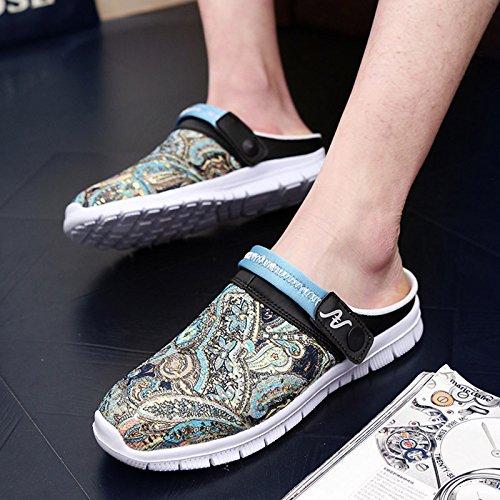 Xing Lin Sandalias De Hombre Luz De Verano Del Hombre Zapatilla Floral Sandalias De Playa Zapatilla Nestle Sandalias Transpirable Hombres De Remolque blue