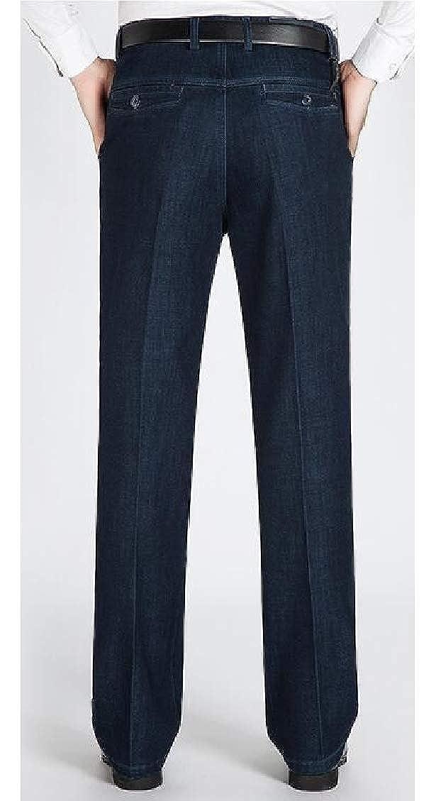 Hajotrawa Men Straight-Leg Office Jeans Trousers Denim Pants