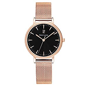 Women's Watch Pierre Lannier - 091L938 - WEEK-END SYMPHONY - Black Dial - Rose Gold Plated - Milanese Strap by Pierre Lannier