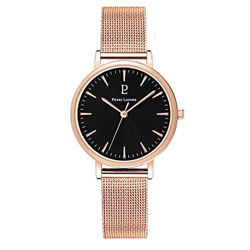 Women's Watch Pierre Lannier - 091L938 - WEEK-END SYMPHONY - Black Dial - Rose Gold Plated - Milanese Strap